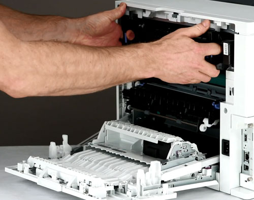 instrucciones cambio fusor hp e62555
